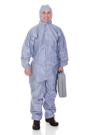 jumpsuit: Mature Man With Protective Wear Isolated Over White Background