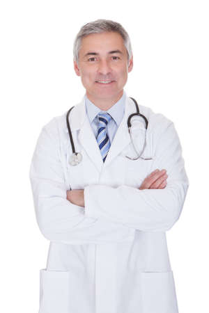 male arm: Portrait Of Happy Mature Male Doctor Isolated Over White Background Stock Photo