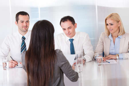 Business Woman Speaking At Interview In Office Stock Photo - 20505030