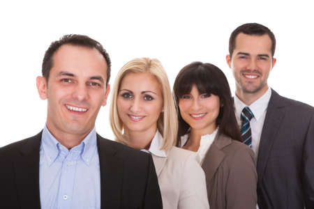 group shot: Portrait Of Happy Businesspeople Group Over White Background