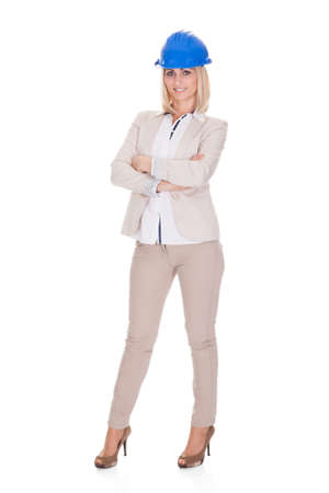 Happy Female Architect Standing Over White Background Stock Photo - 20504564