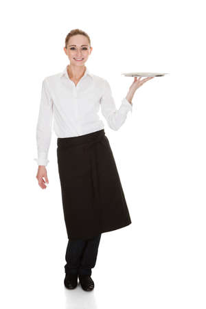 Happy Young Waitress Holding Tray Over White Background