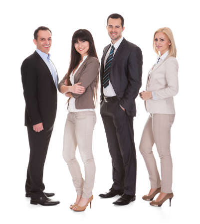Portrait Of Happy Businesspeople Group Over White Background photo