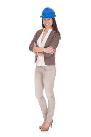 Happy Female Architect Standing Over White Background Stock Photo - 20508778