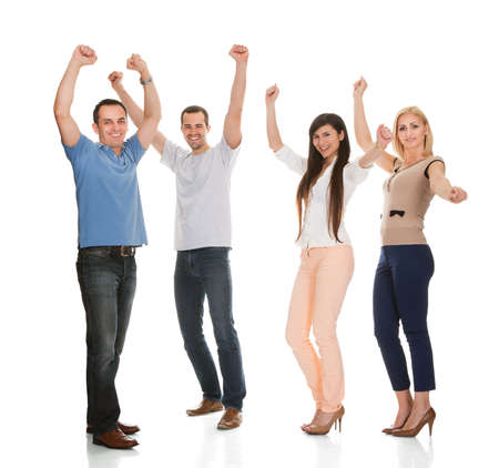 cheering: Portrait Of Happy Friends Isolated On White Background Stock Photo