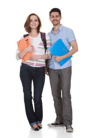 Happy College Student Holding Folder Isolated Over White Background Stock Photo - 20510742