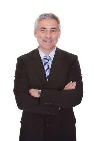 Portré, érett, üzletember elszigetelt fölött fehér háttér
