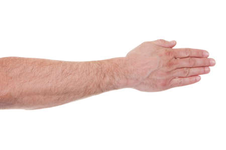 closed fist sign: Close-up Mans Palm Hand Over White Background