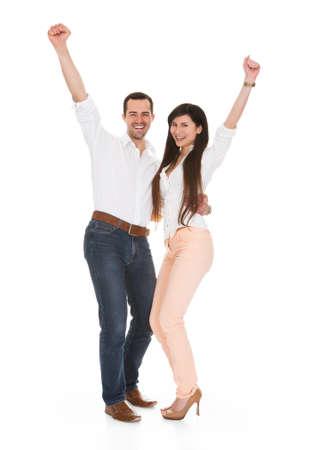 Portrait Of Happy Couple On White Background