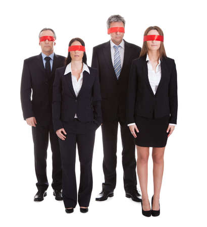 Business Peoples Eyes Covered With Ribbon Isolated Over White Background photo