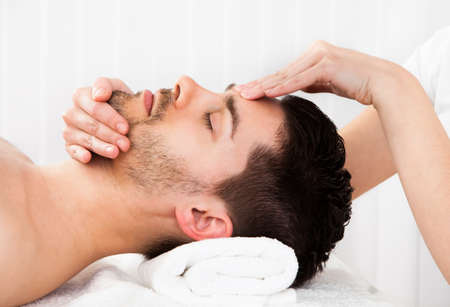 health resort treatment: Man getting massage in the spa centre