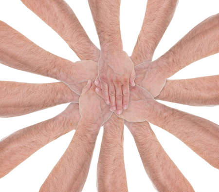 Close-up Of Hands Stacking On Each Other Over White Background Stock Photo - 20615297