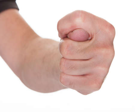 closed fist sign: Close-up Mans Hand Clenching His Fist Over White Background Stock Photo