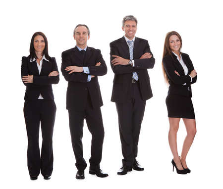 Group Of Happy Businesspeople Isolated Over White Background photo