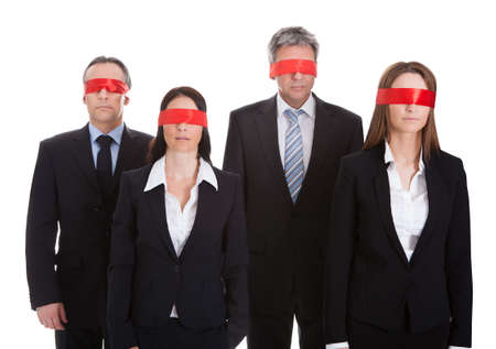 Business Peoples Eyes Covered With Ribbon Isolated Over White Background