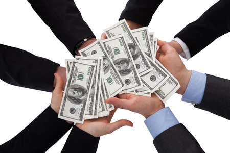 bribe: Group Of Businesspeople Holding Banknote Over White Background Stock Photo