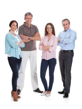 men casual: Group Of Happy Businesspeople Isolated Over White Background Stock Photo