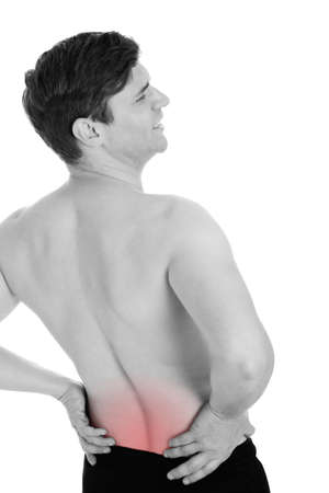 Man With A Backache Isolated Over White Background photo