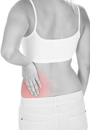 pyelonephritis: Close up of woman kidney pain isolated on white background