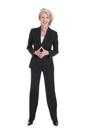 one senior adult woman: Portrait Of Happy Businesswoman On White Background