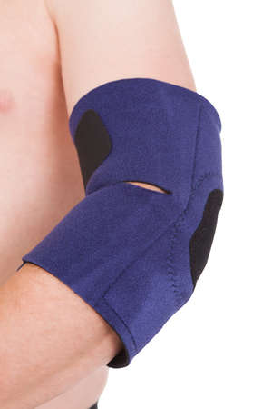 A Person Wearing Elbow Brace Over White Background photo