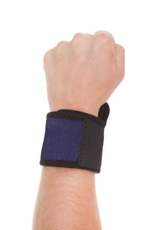 Close Up Of Man Wearing Wrist Band In Hand Over White Background Stock Photo - 21253779