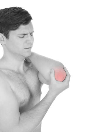 Man With Pain In The Elbow Isolated On White Background photo