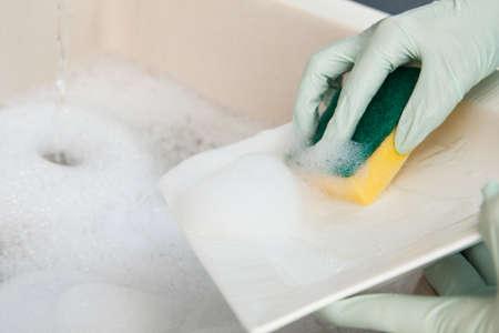lavar trastes: Detalle de la joven mujer lavando la placa en la cocina Foto de archivo