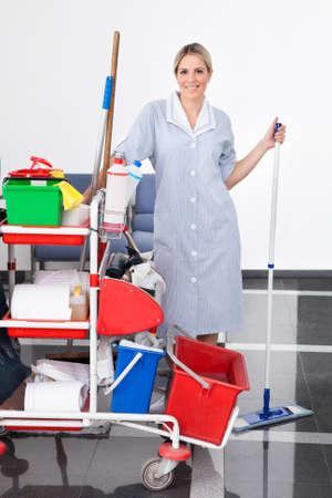 limpiadores: Joven Dama feliz que limpia el suelo con la fregona