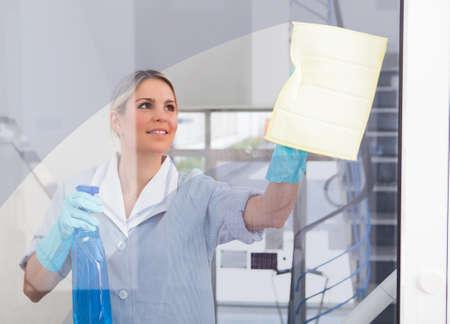 cleaners: Jonge Gelukkig Maid Holding Fles En Doek Stockfoto