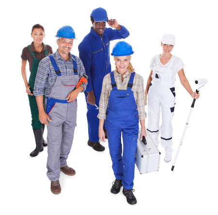 representing: Group Of People Representing Diverse Professions On White Background