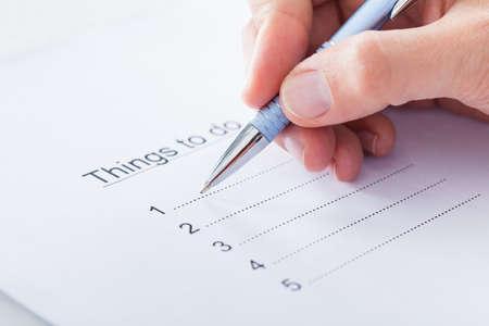 Close-up Van Hand Planning To Do List