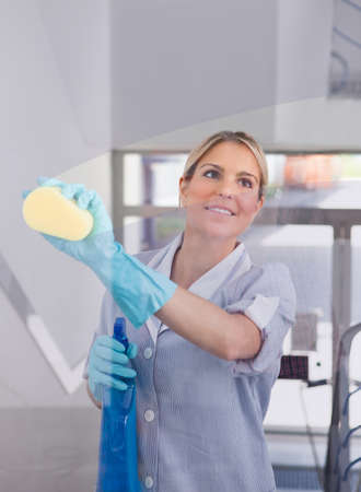 cleaning floor: Young Happy Maid Holding Bottle And Cloth Stock Photo