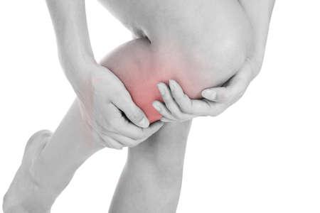 Close up of woman leg injury isolated on white background photo