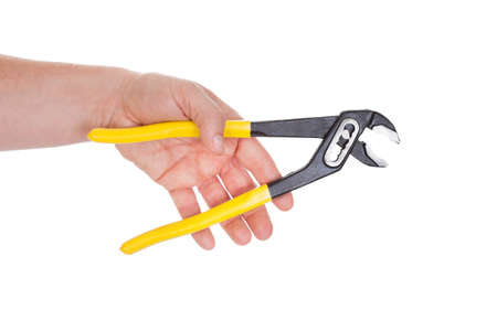 Close-up Of Hand Holding Pliers Isolated Over White Background photo