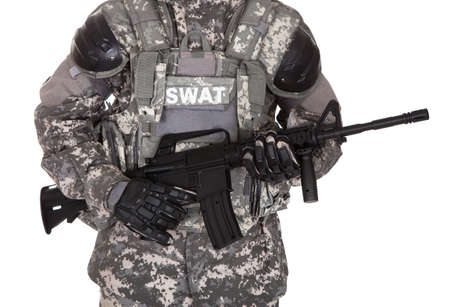 swat: Portrait Of Serious Solider Holding Rifle Isolated Over White Background Stock Photo