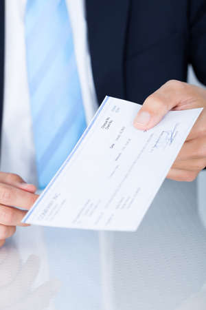 credit union: Portrait Of Young Happy Businessman Offering Cheque Stock Photo
