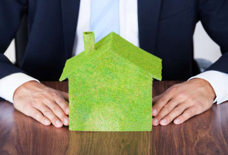 corporate responsibility: Businessman Sitting In Front Of House Covered With Grass Stock Photo