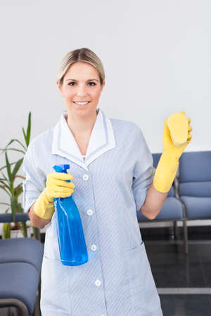 Young Happy Maid Holding Bottle And Sponge Stock Photo - 21478022