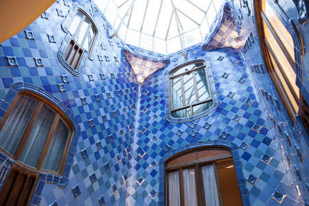 BARCELONA, SPAIN - JULY 31: Light shaft in Casa Batlló - famous building with incrassate facades and creative floors located in the heart of Barcelona designed by Antoni Gaudi July 31, 2013 in Barcelona, Spain.