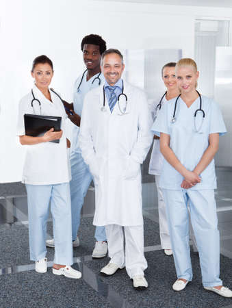 Portrait Of Successful Multiracial Doctors In Clinic photo