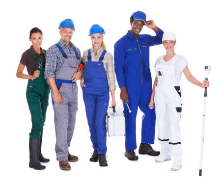 Group Of People Representing Diverse Professions On White Background photo