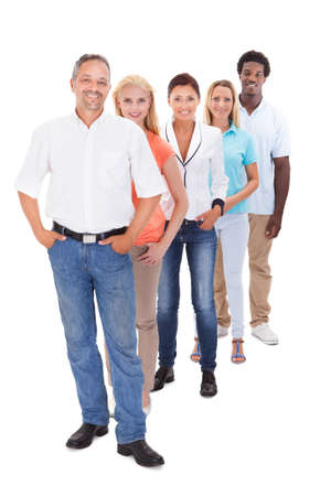 white women: Group Of Multi-racial People Standing In A Row On White Background
