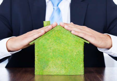 sales executive: Businessman Sitting In Front Of House Covered With Grass Stock Photo
