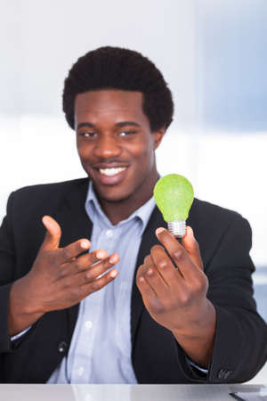 Happy Young Businessman Holding Light Bulb With Green Grass photo