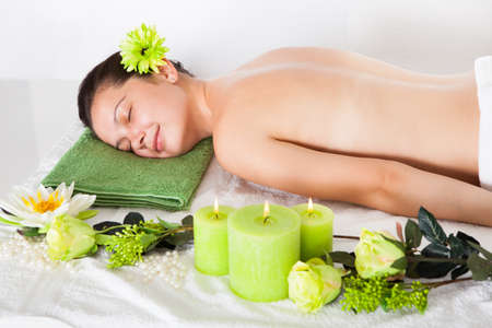 shiatsu: Beautiful Young Woman Relaxing In A Spa