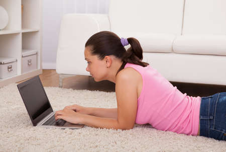 Young Beautiful Woman Using Laptop In Living Room Stock Photo - 22002268