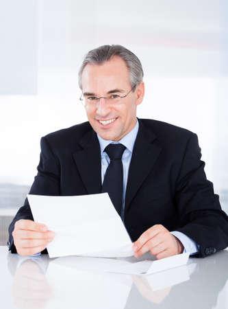 mature businessman: Portrait Of Happy Mature Businessman Holding Document
