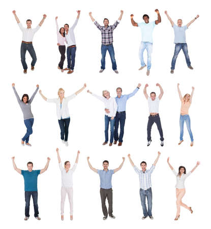 cheer: Happy Group Of People Dressed In Casual Raising Arm Over White Background