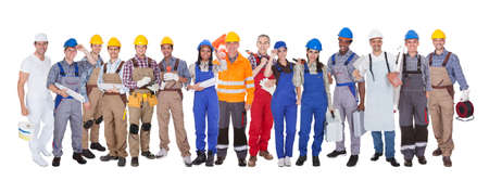 painter: Group Of Construction Workers Standing Over White Background